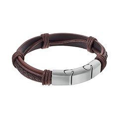 LYNX Men's Stainless Steel & Brown Leather Bracelet