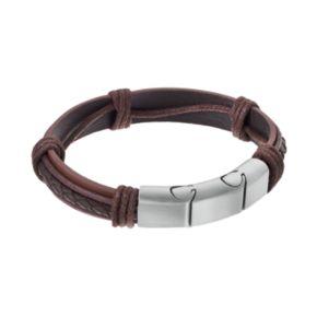 LYNXMen's Stainless Steel & Brown Leather Bracelet