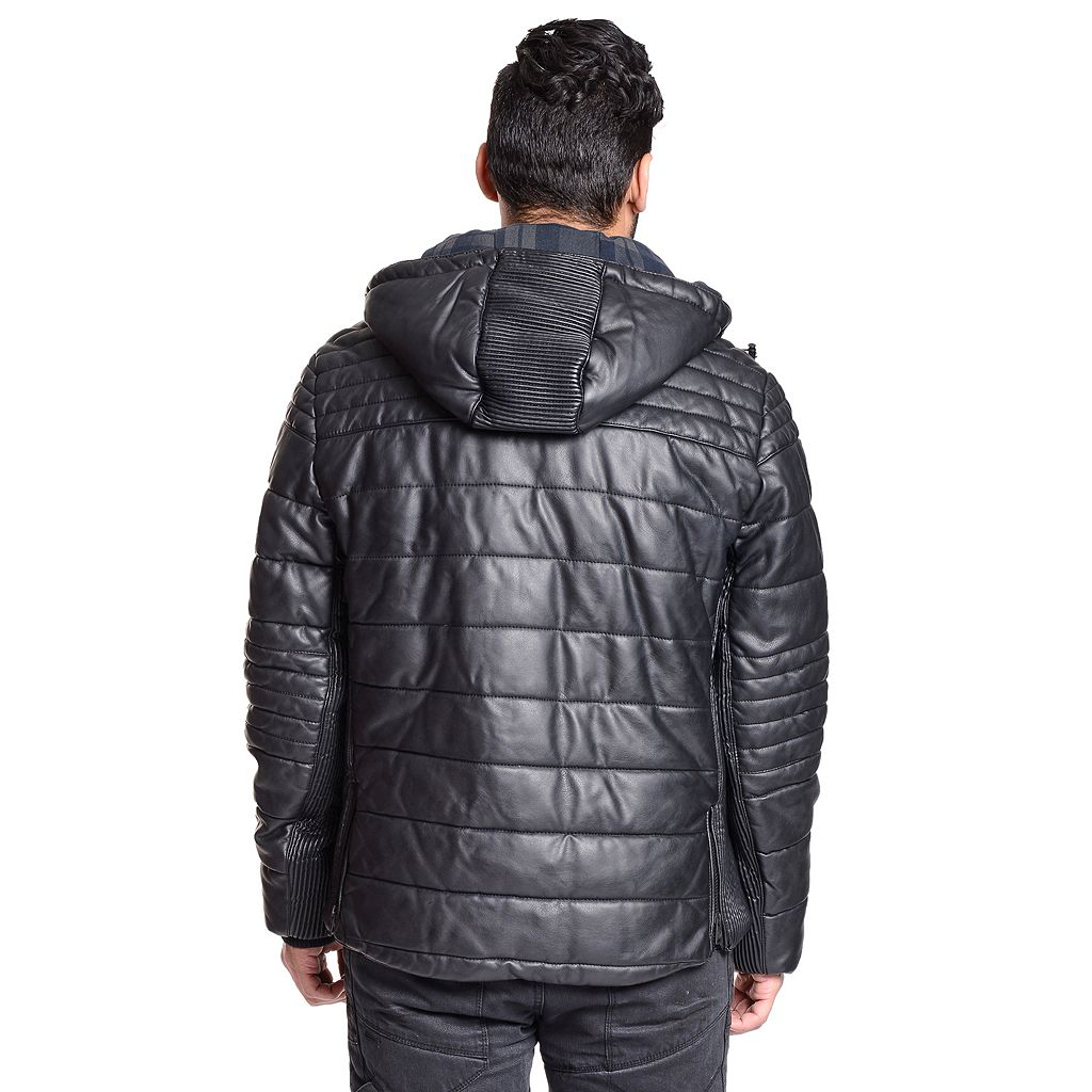 Men's Excelled Faux-Leather Quilted Puffer Jacket