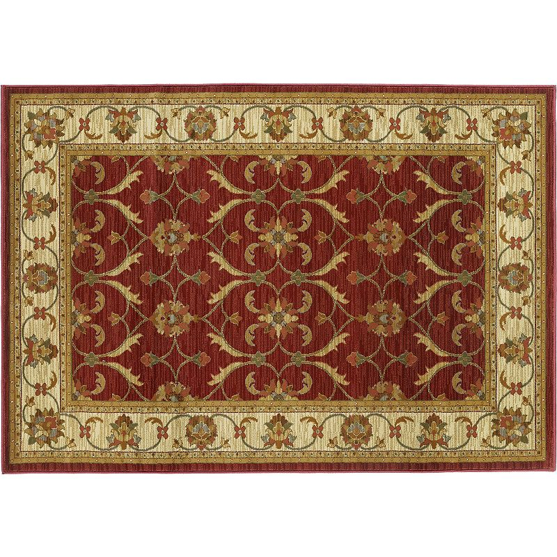 KAS Rugs Lifestyles Agra Framed Floral Rug, Dark Red, 2X7.5 Ft Express your style with this KAS Rugs Lifestyles Agra Framed Floral rug.FEATURES Heat-set pile Framed border Floral pattern CONSTRUCTION & CARE Polypropylene Pile height: 0.5'' Spot clean Manufacturer's 1-year limited warrantyFor warranty information please click here Imported Attention: All rug sizes are approximate and should measure within 2-6 inches of stated size. Pattern may also vary slightly. This rug does not have a slip-resistant backing. Rug pad recommended to prevent slipping on smooth surfaces. . Size: 2X7.5 Ft. Color: Dark Red. Gender: unisex. Age Group: adult.