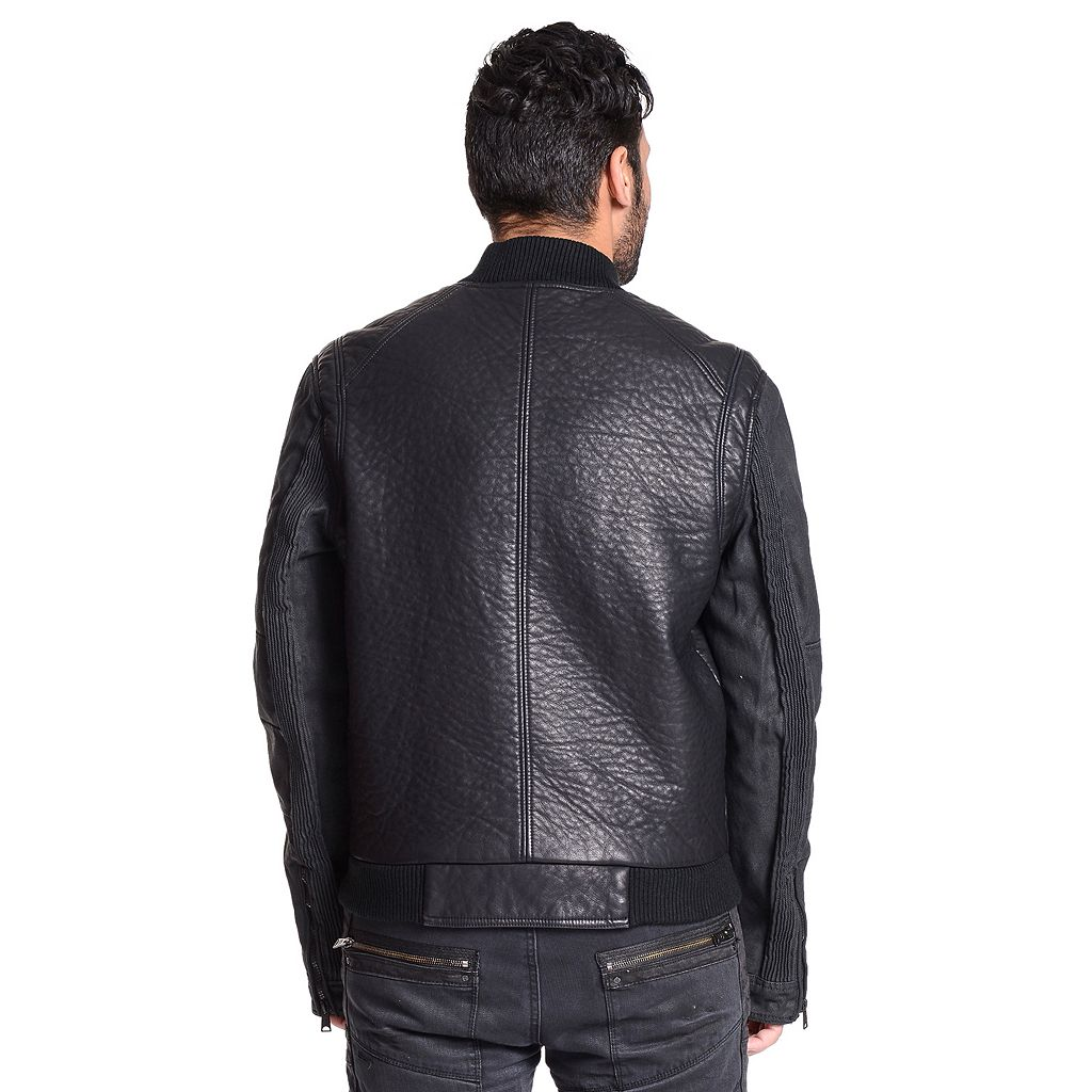 Men's Excelled Faux-Leather Varsity Jacket