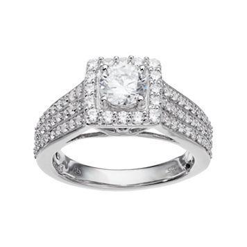 14k White Gold 1 1/2 Carat T.W. IGL Certified Diamond Halo Engagement Ring