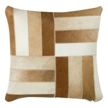 Rizzy Home Striped Leather Throw Pillow