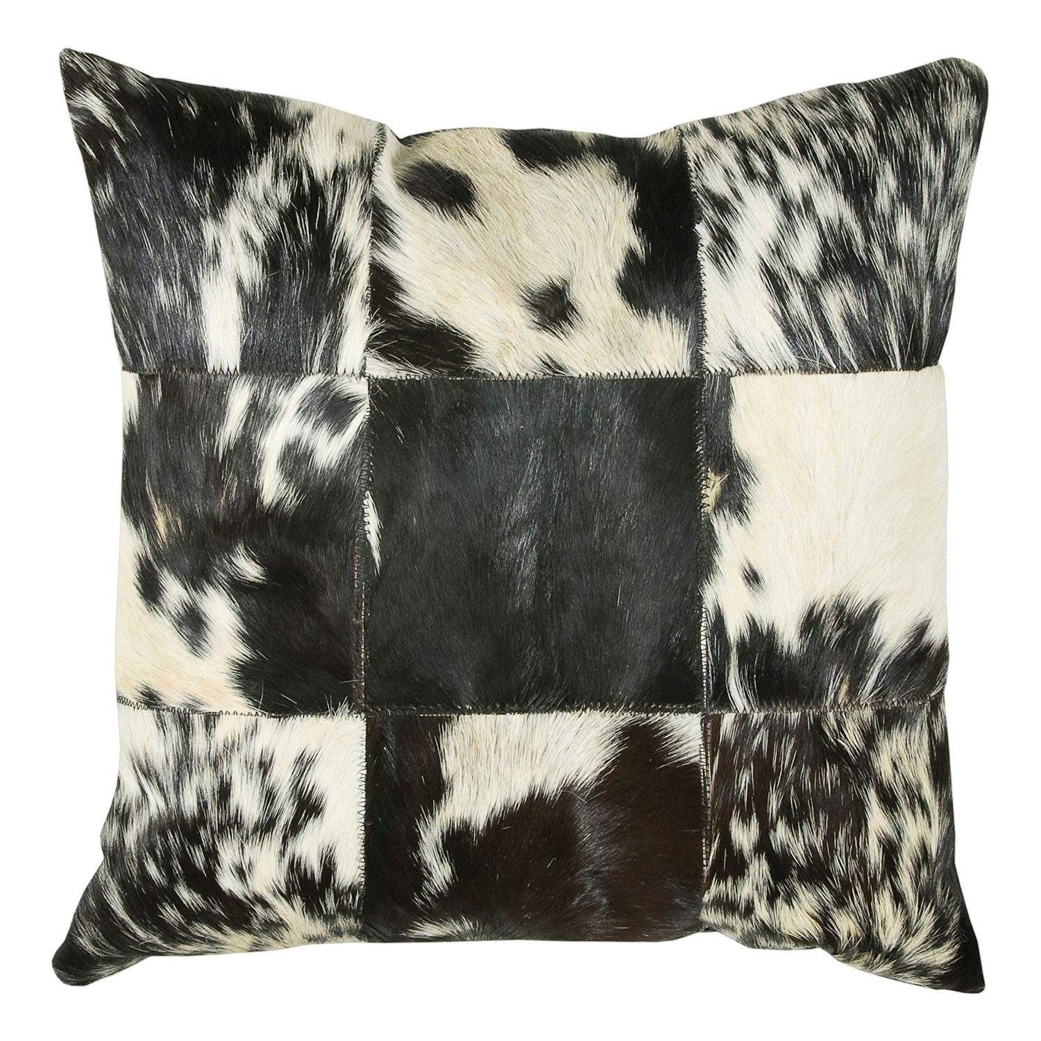 rizzy home black and white leather throw pillow