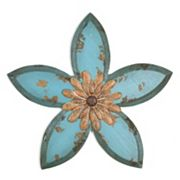 Stratton Home Decor Teal Antique Flower Wall Decor