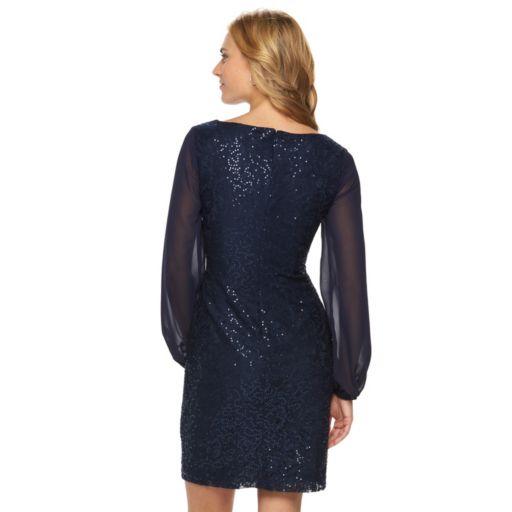 Women's Chaps Lace Sequin Sheath Evening Dress