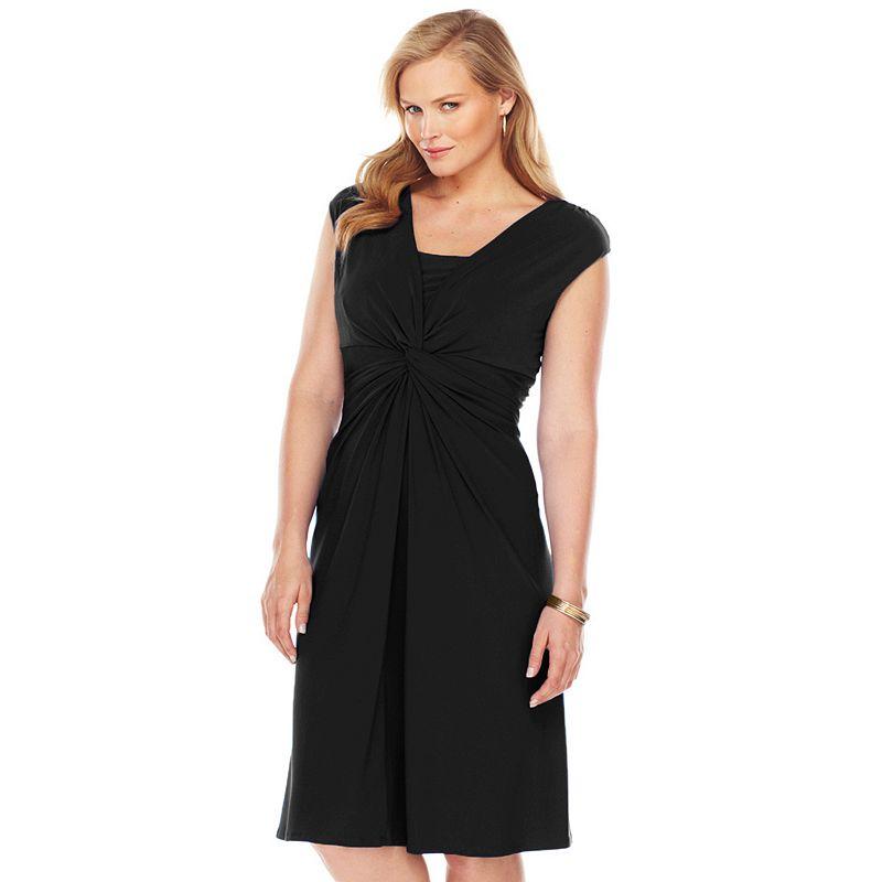 Plus Size Chaps Knot-Front Empire Dress