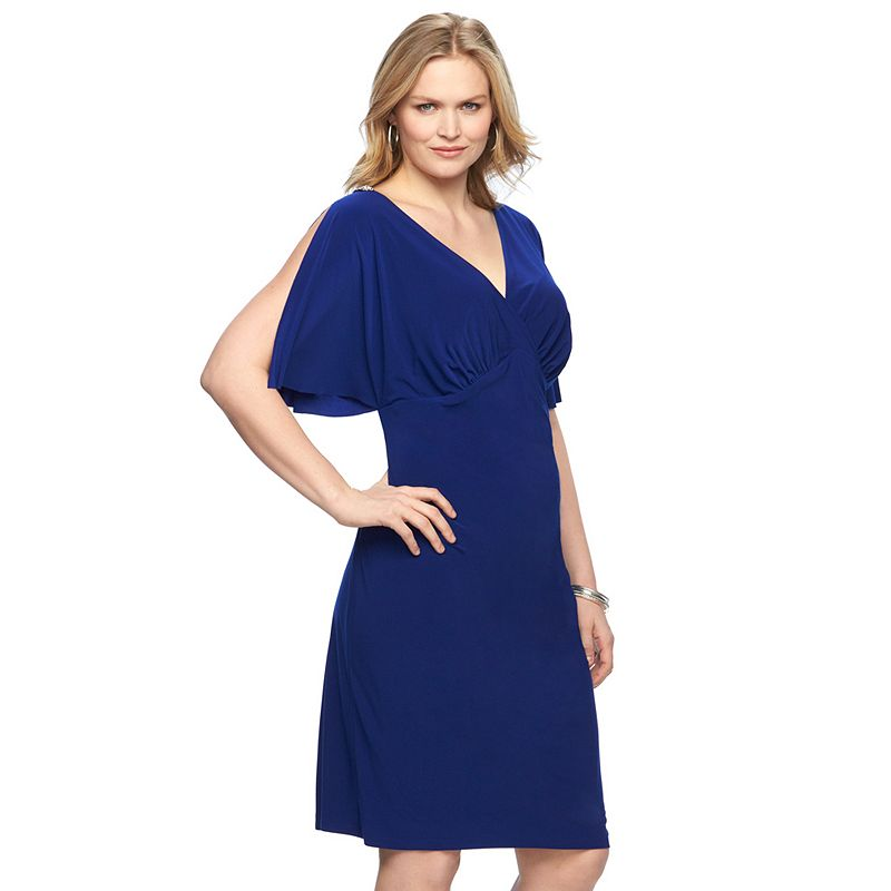 Plus Size Chaps Embellished Ruched Empire Dress