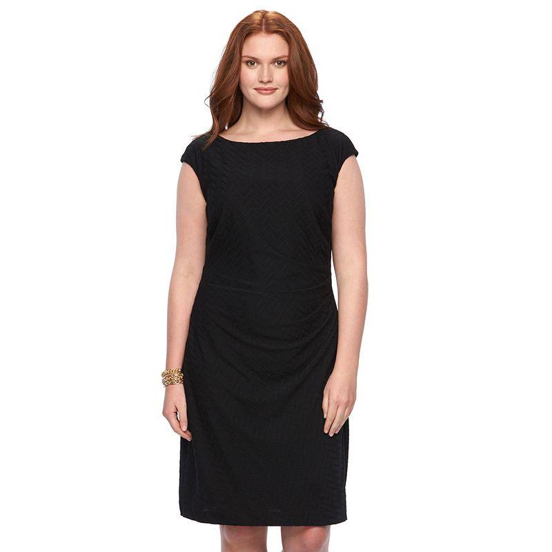 Plus Size Chaps Zigzag Jacquard Pleated Dress