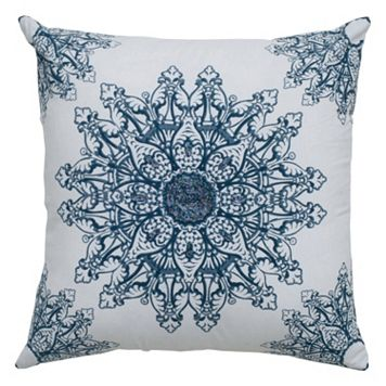 Rizzy Home Floral Blue Throw Pillow