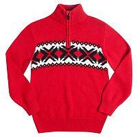 Boys 8-20 Chaps Fairisle Stripe Quarter-Zip Sweater