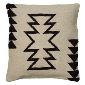 Rizzy Home White and Black Tribal Throw Pillow