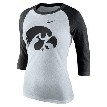 Women's Nike Iowa Hawkeyes Oatmeal Raglan Tee
