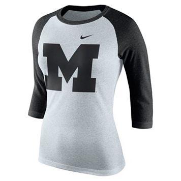 Women's Nike Michigan Wolverines Oatmeal Raglan Tee