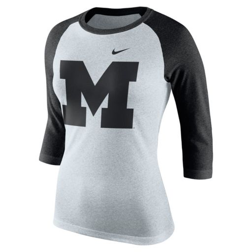 Women's Nike Michigan Wolverines Oatmeal Raglan Tee