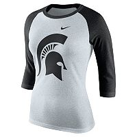 Women's Nike Michigan State Spartans Oatmeal Raglan Tee