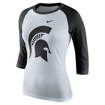 Women's Nike Michigan State Spartans Oatmeal Raglan Tee