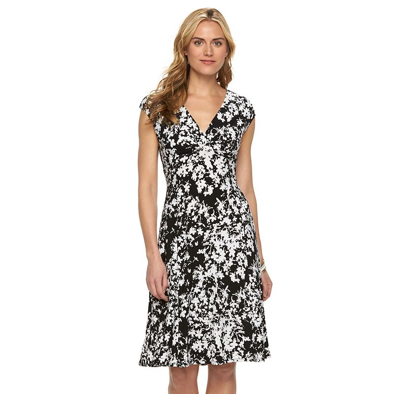 Women's Chaps Printed Pleated Empire Dress