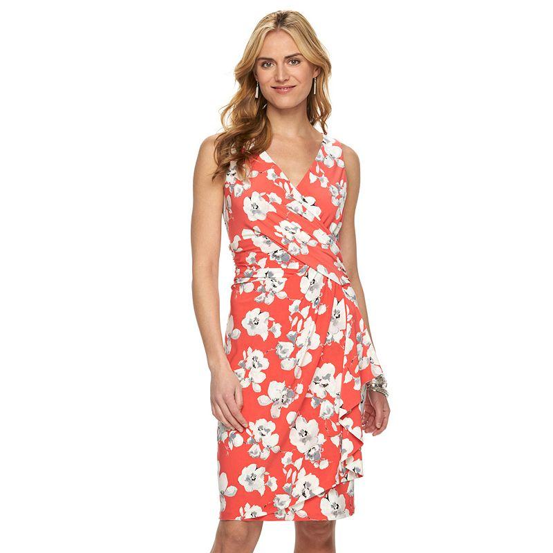 Women's Chaps Floral Surplice Faux-Wrap Dress