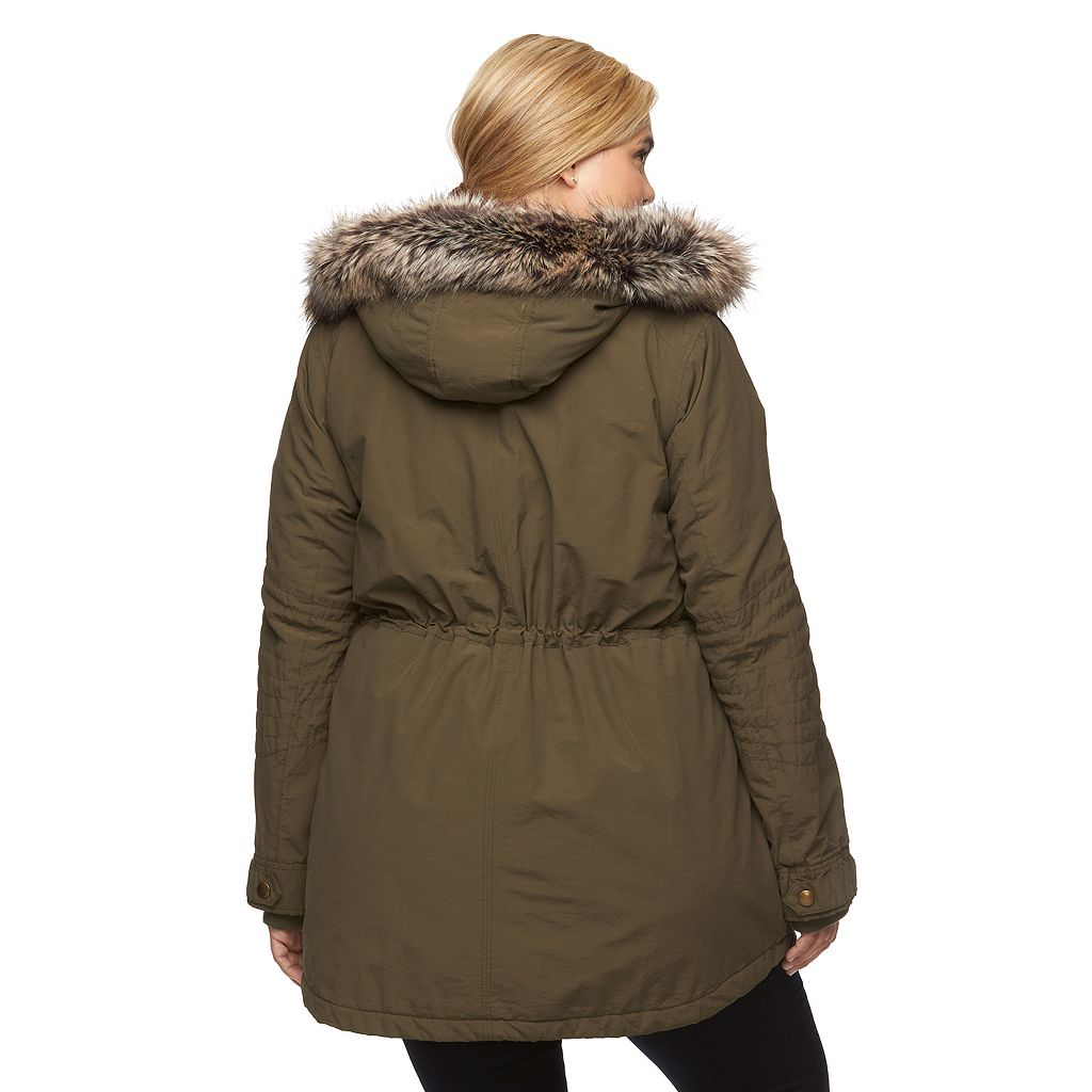 Plus Size Apt. 9® Hooded Faux-Fur Anorak Parka