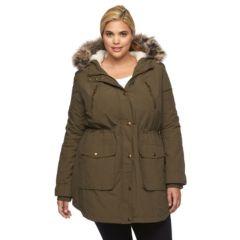 Plus Size Apt. 9® Hooded Faux-Fur Anorak Parka