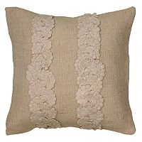 Rizzy Home Beige Floral Throw Pillow