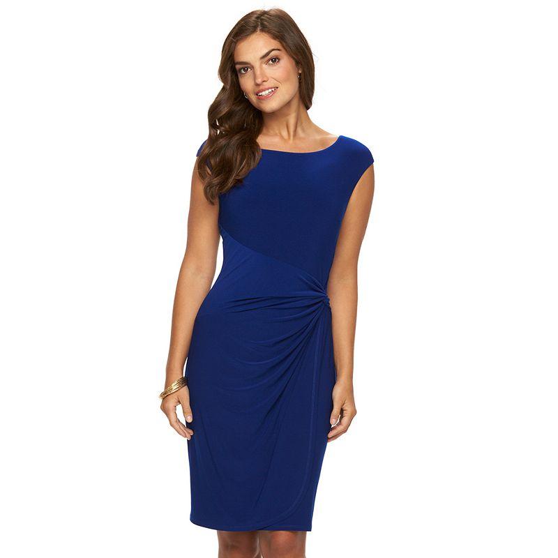Women's Chaps Knot-Front Faux-Wrap Dress
