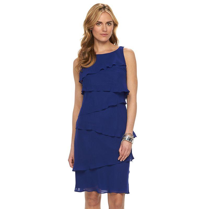 Women's Chaps Tiered Ruffle Chiffon Dress
