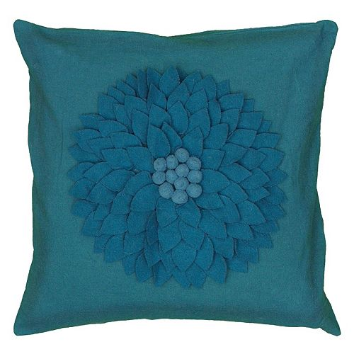 Rizzy Home Embroidered Blue Floral Throw Pillow