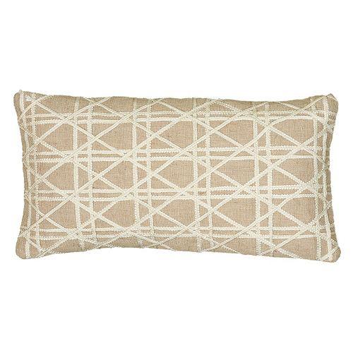 Rizzy Home Geometric Beige Throw Pillow