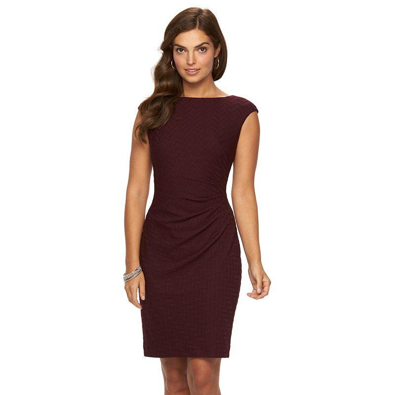 Women's Chaps Zigzag Jacquard Pleated Dress