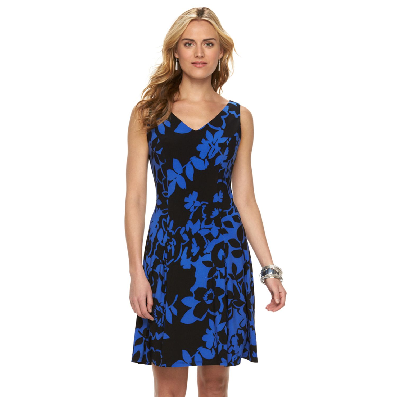 Womens Chaps Floral Leaf Godet Dress