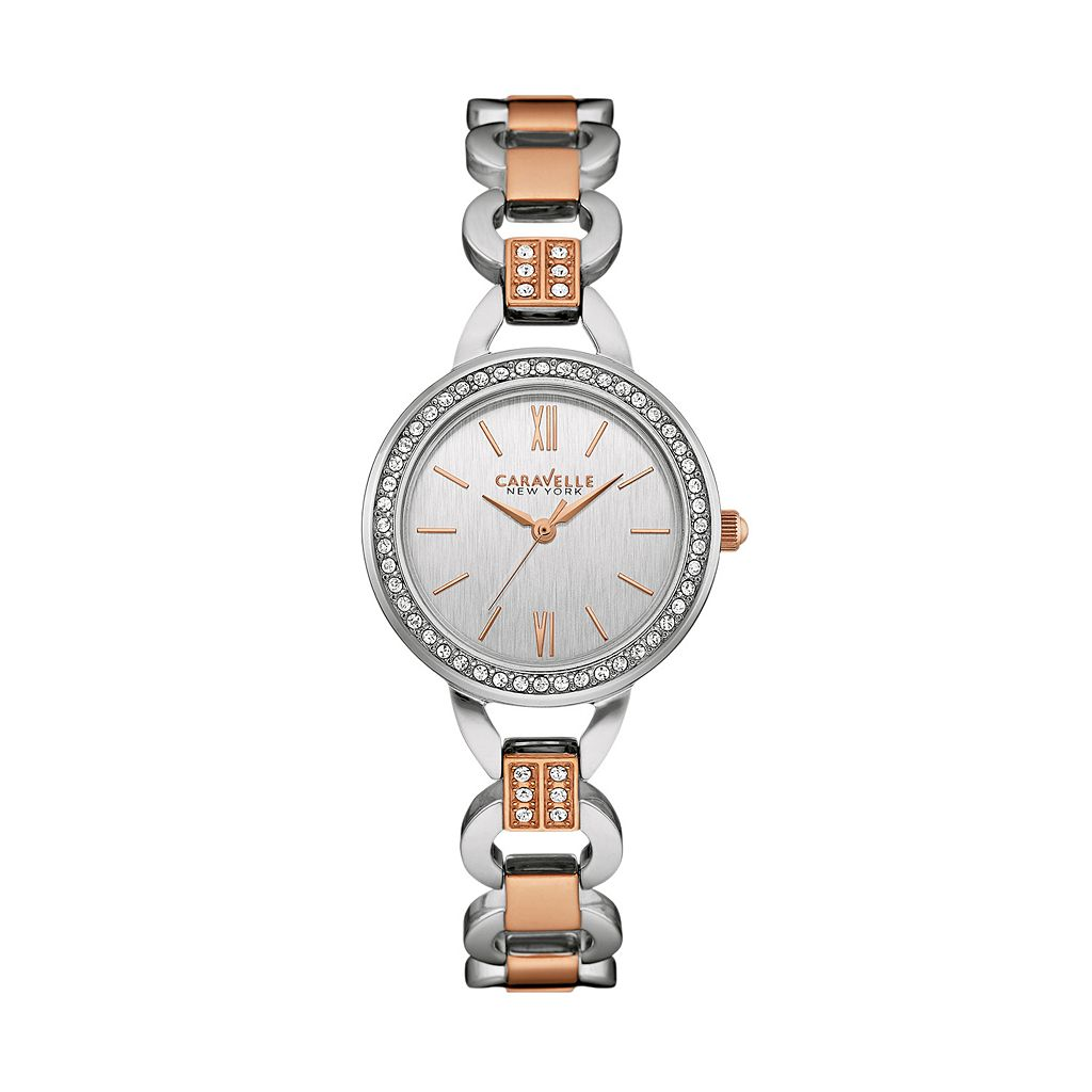Caravelle New York by Bulova Women's Crystal Two Tone Stainless Steel Watch - 45L157