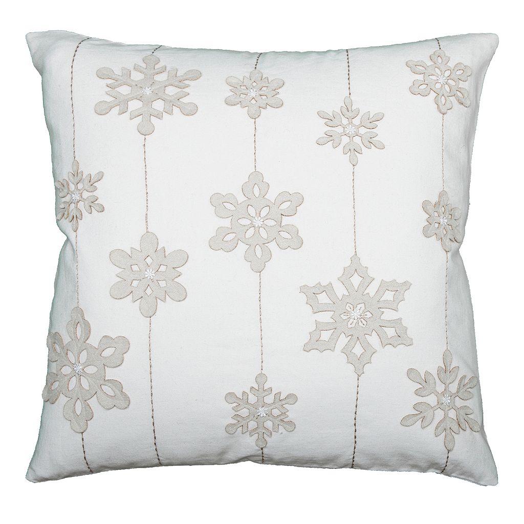 Rizzy Home Felt Snowflakes and Stripes Throw Pillow