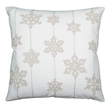 Rizzy Home Felt Snowflakes and Stripes Throw Pillow