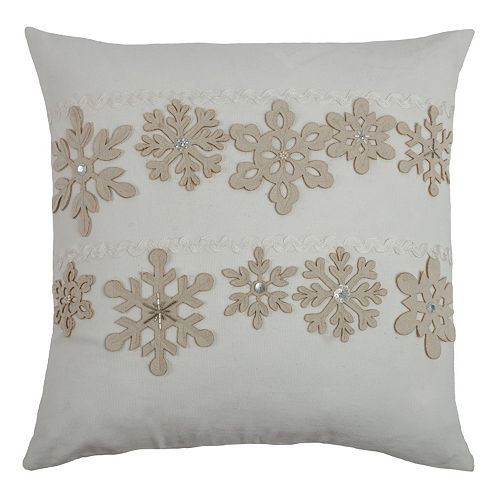 Rizzy Home Felt Snowflake Throw Pillow