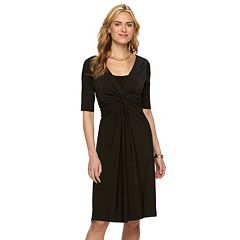 Women's Chaps Solid Knot-Front Empire Dress
