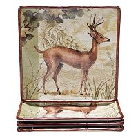 Certified International Rustic Nature 4 pc Square Dinner Plate Set