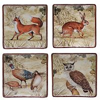 Certified International Rustic Nature 4-pc. Square Dessert Plate Set