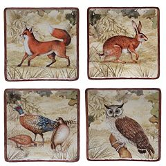 Certified International Rustic Nature 4 pc Square Dessert Plate Set