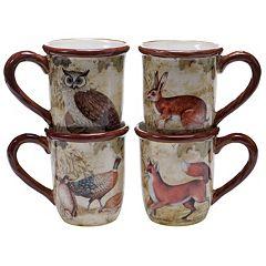Certified International Rustic Nature 4 pc Coffee Mug Set
