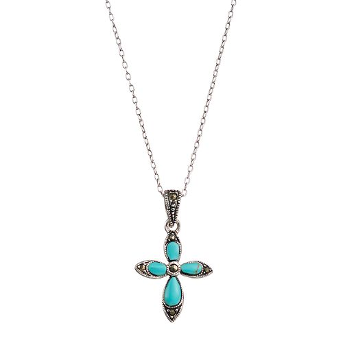 Sterling Silver Simulated Turquoise & Marcasite Cross Pendant Necklace