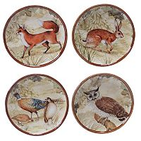 Certified International Rustic Nature 4 pc Canape Plate Set