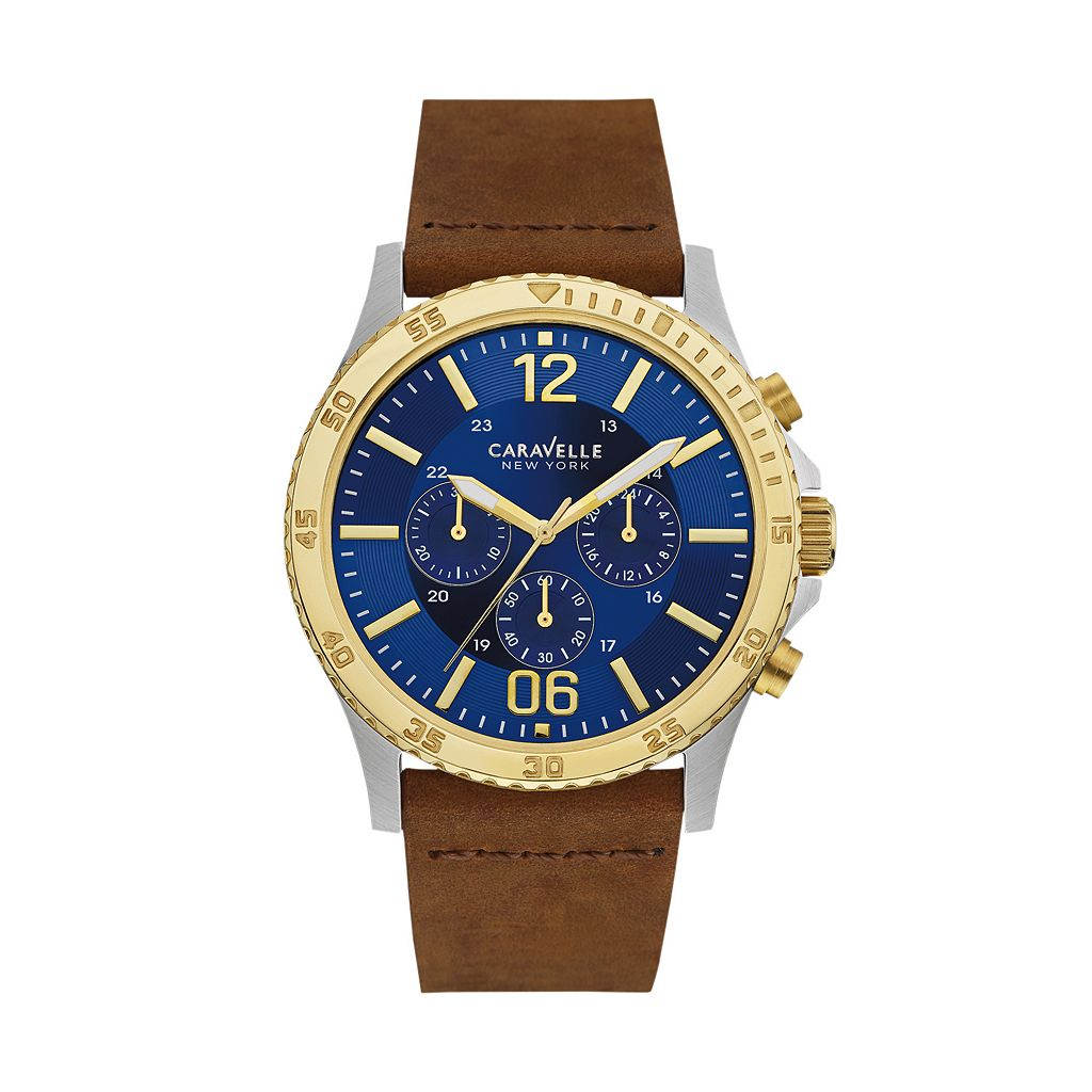 Caravelle New York by Bulova Men's Leather Chronograph Watch - 45A135