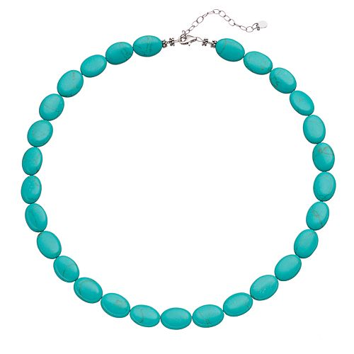 Sterling Silver Simulated Turquoise Beaded Necklace