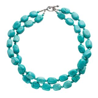 Sterling Silver Simulated Turquoise Beaded Multistrand Necklace