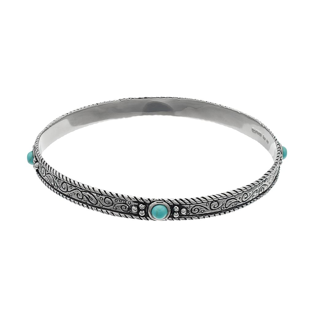 Sterling Silver Simulated Turquoise Filigree Bangle Bracelet