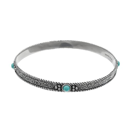 Sterling Silver Simulated Turquoise Filigree Bangle Bracelet