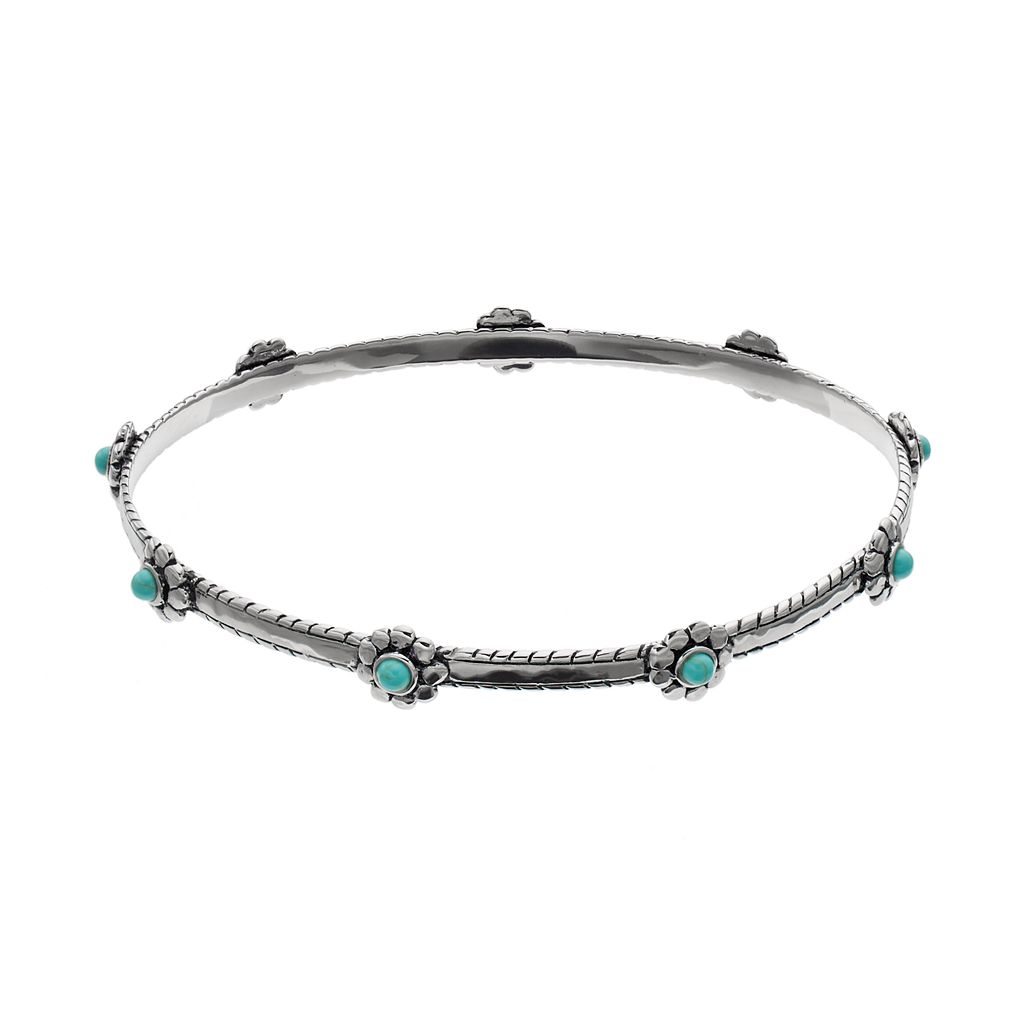 Sterling Silver Simulated Turquoise Flower Bangle Bracelet
