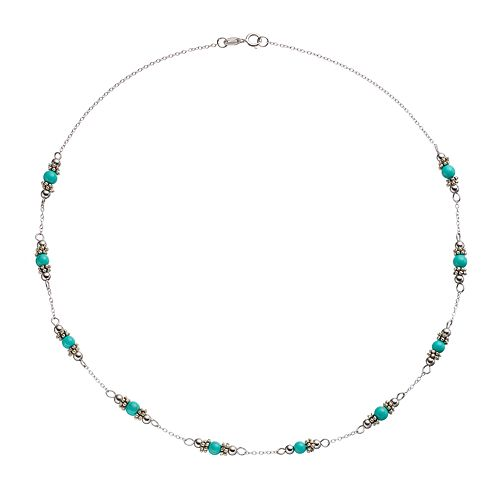 Sterling Silver Simulated Turquoise Beaded Station Necklace